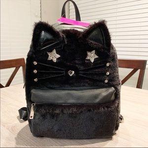 BWT Betsey Johnson Fuzzy Fur Black Cat Backpack